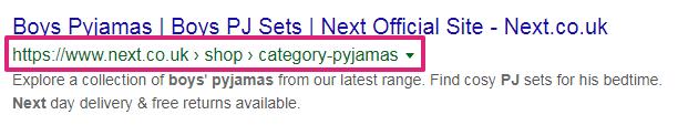 screenshot next pyjamas breadcrumbs - schema markup