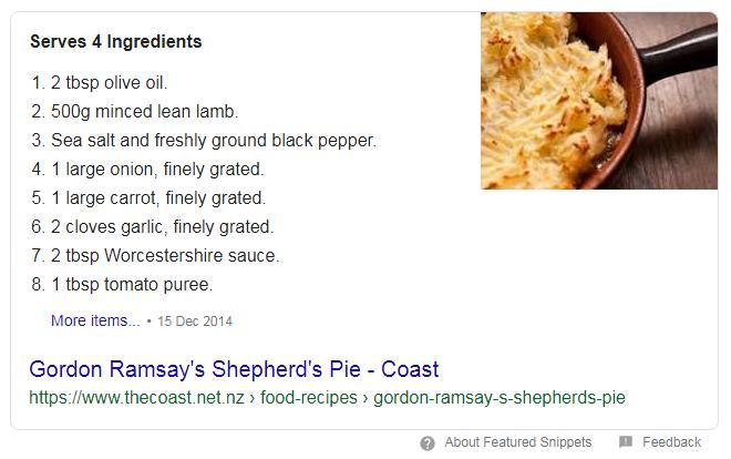 screenshot gordon ramsay recipe - schema markup