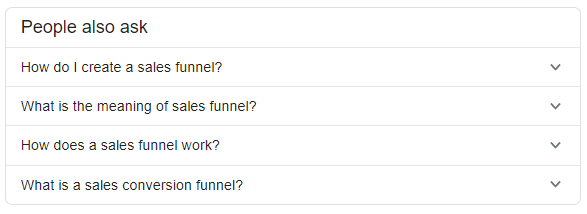 screenshot people also ask sales funnel - semantic SEO