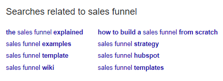 screenshot related searches sales funnel - semantic SEO