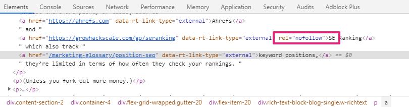 screenshot inspect element nofollow tag - dofollow links