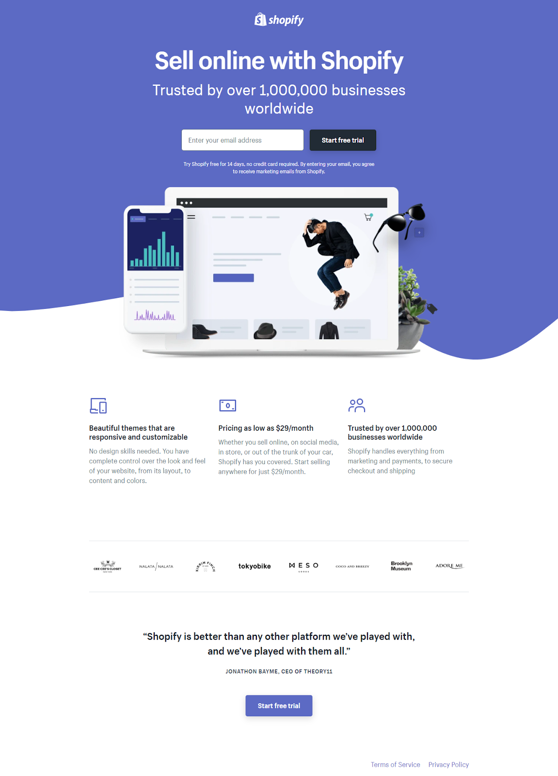 What is a landing page? - a screenshot of Shopify's free trial landing page