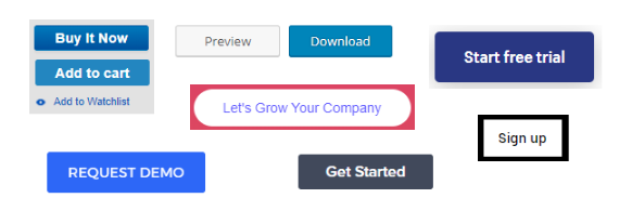 screenshot of various CTA buttons - what is a call to action