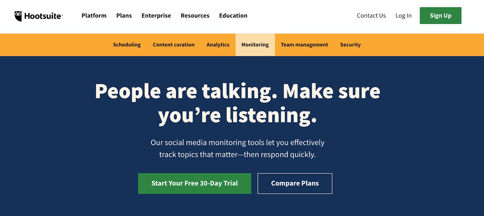 screenshot hootsuite landing page - social media monitoring tool