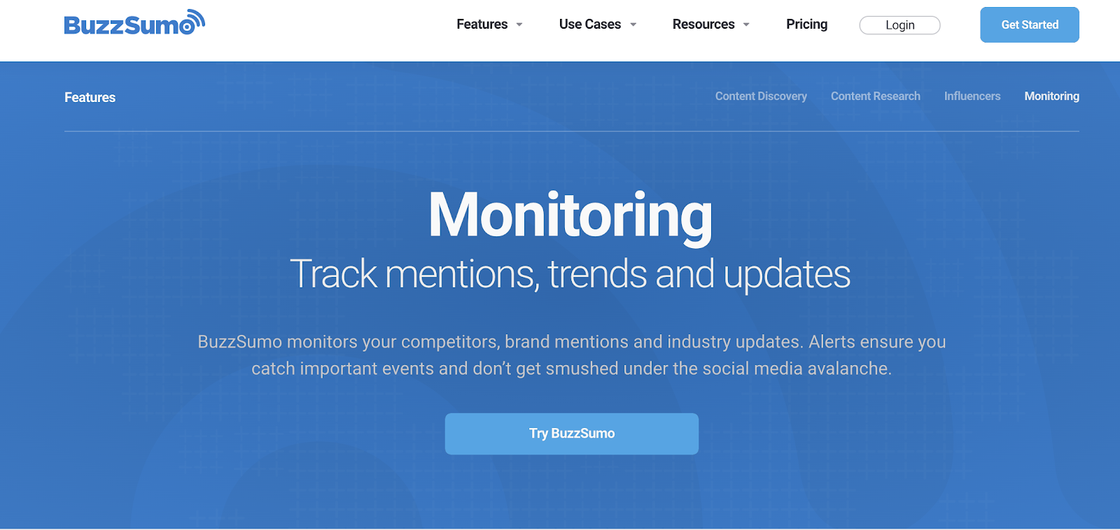 screenshot buzzsumo landing page - social media monitoring