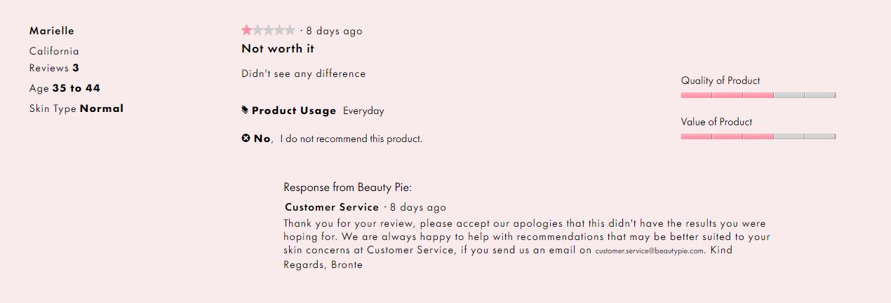 screenshot beautypie 1 star review - brand reputation management