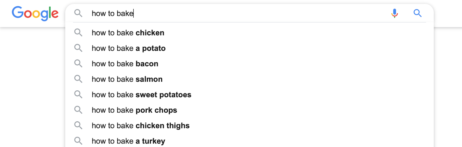 screenshot google search suggestion how to bake - search queries