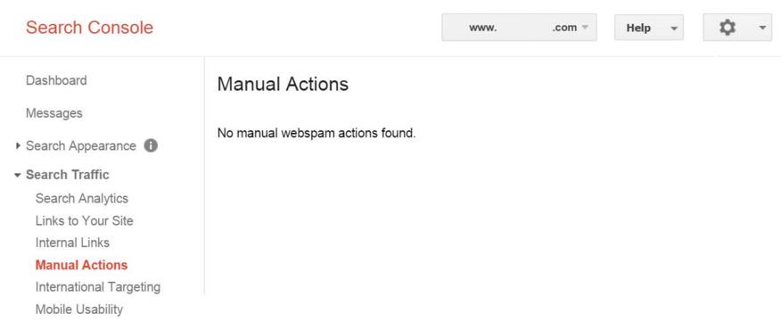 screenshot google search console manual google penalty