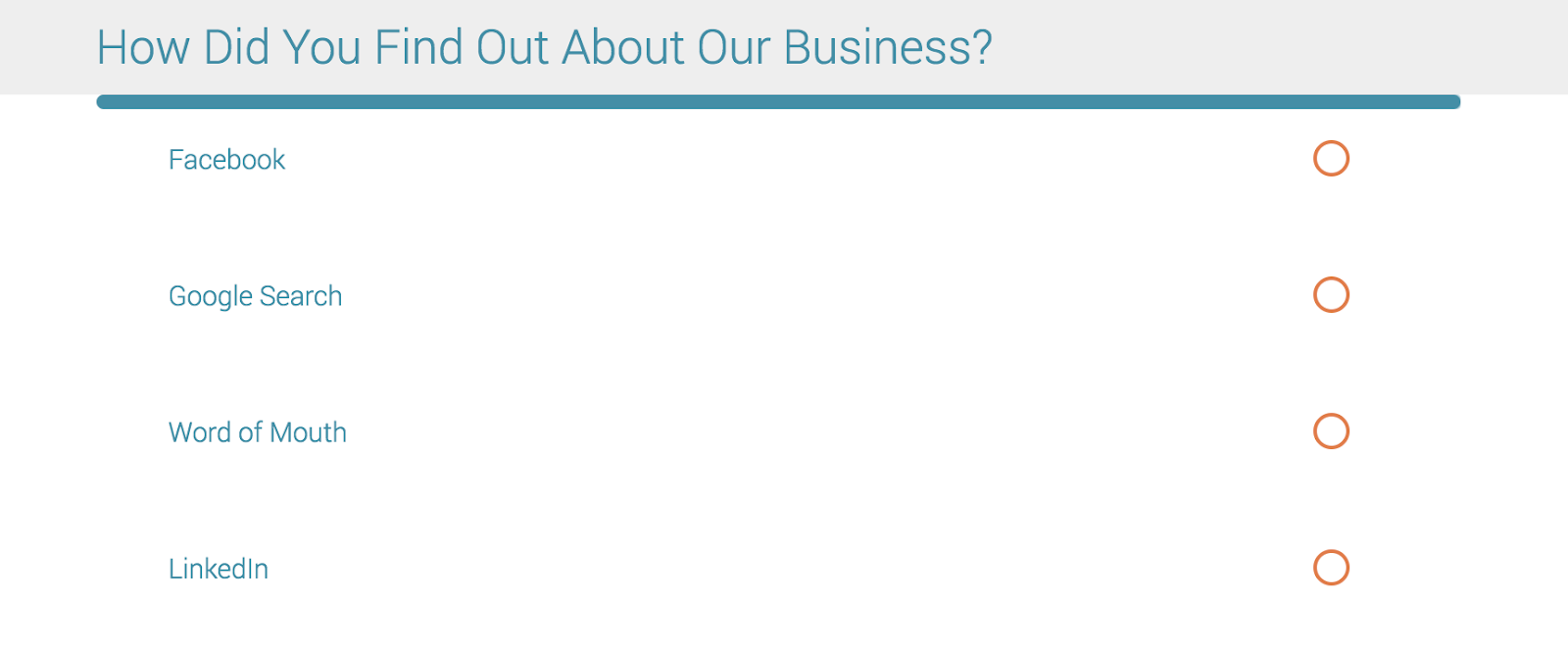 Screenshot of how did you find out about our business in-house advertising research