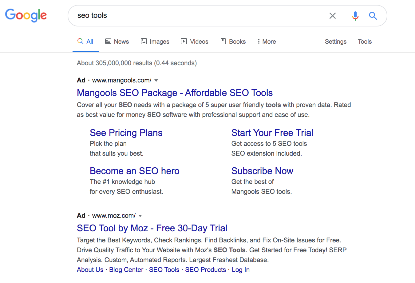 A screenshot of Google SERPs for SEO tools - what is paid traffic