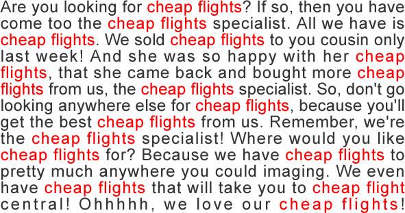 What is content optimization: a screenshot content stuffing cheap flights