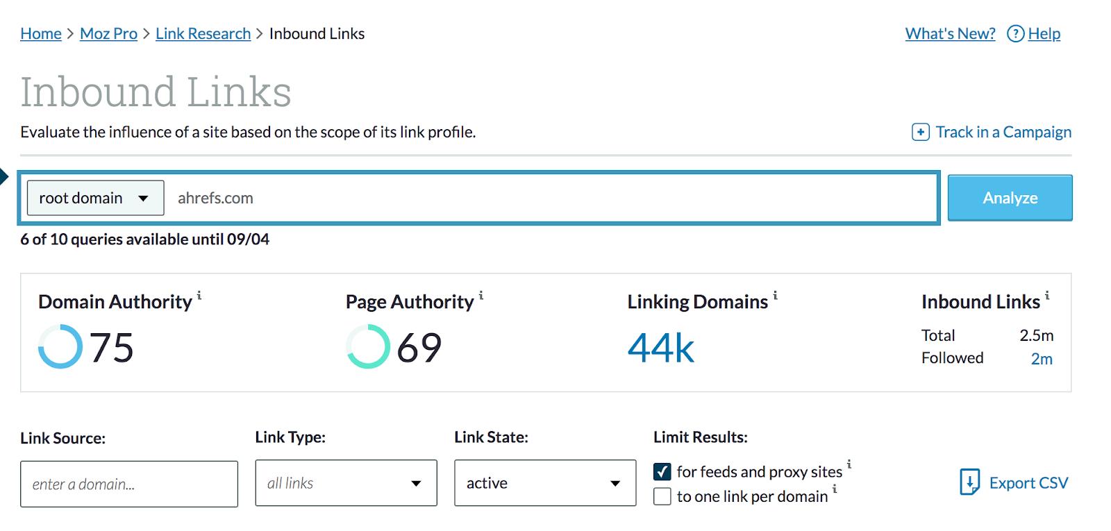 Mozbar inbound links dashboard - domain authority