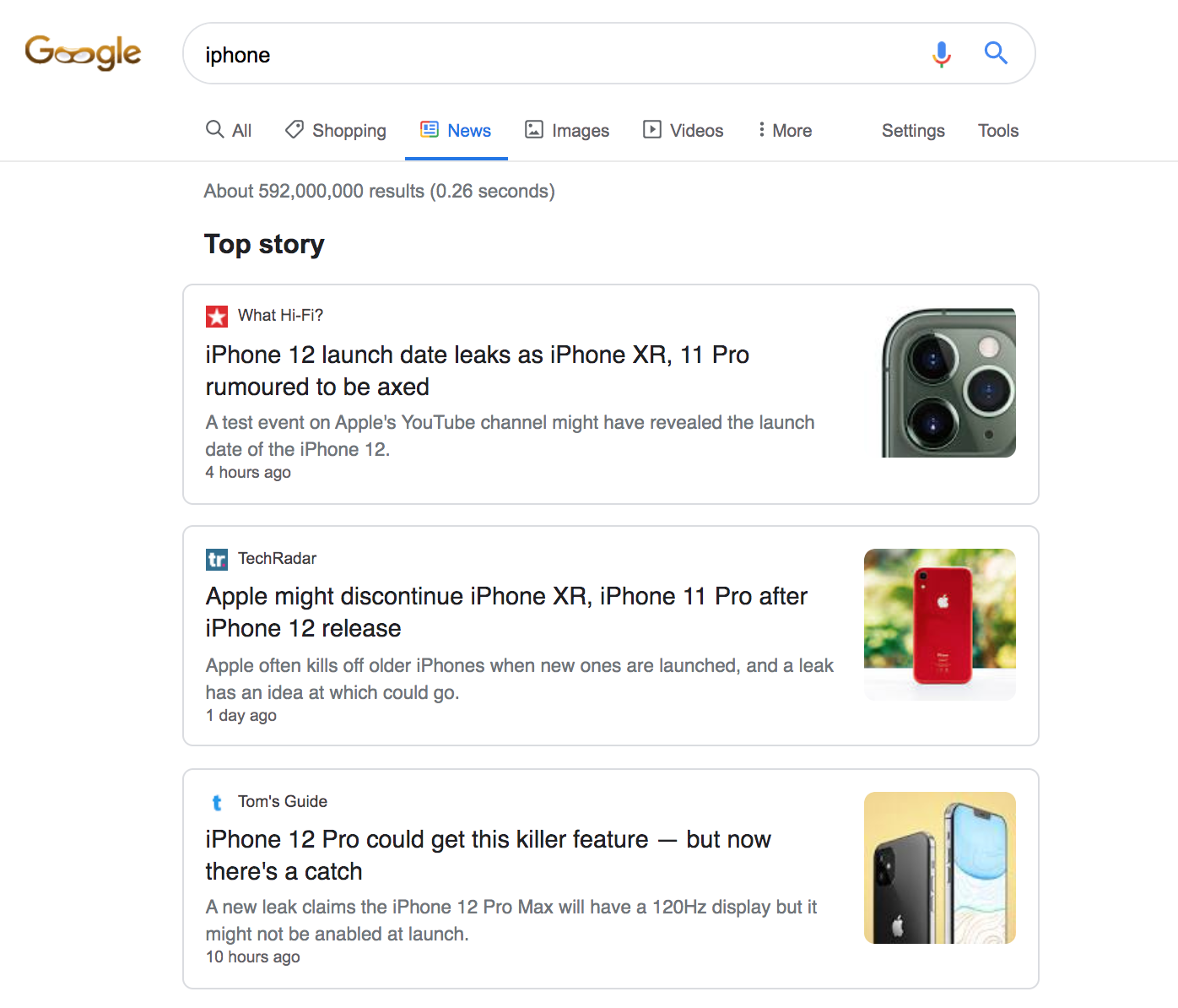 screenshot google search engine top story results freshness factor