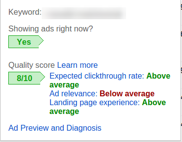 screenshot google ads quality score - cost per action cpa advertising