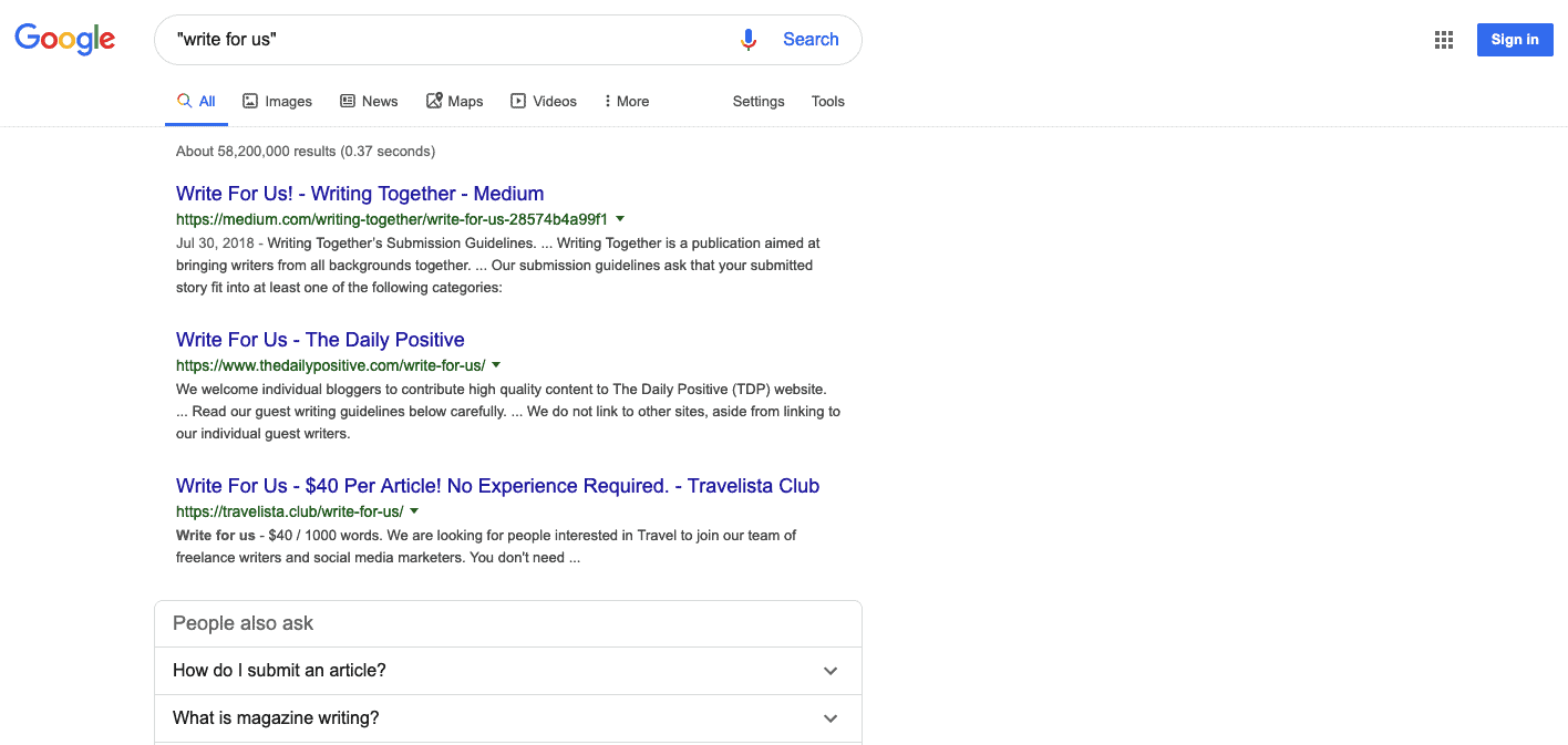 Google search operators: Google search results for query write for us