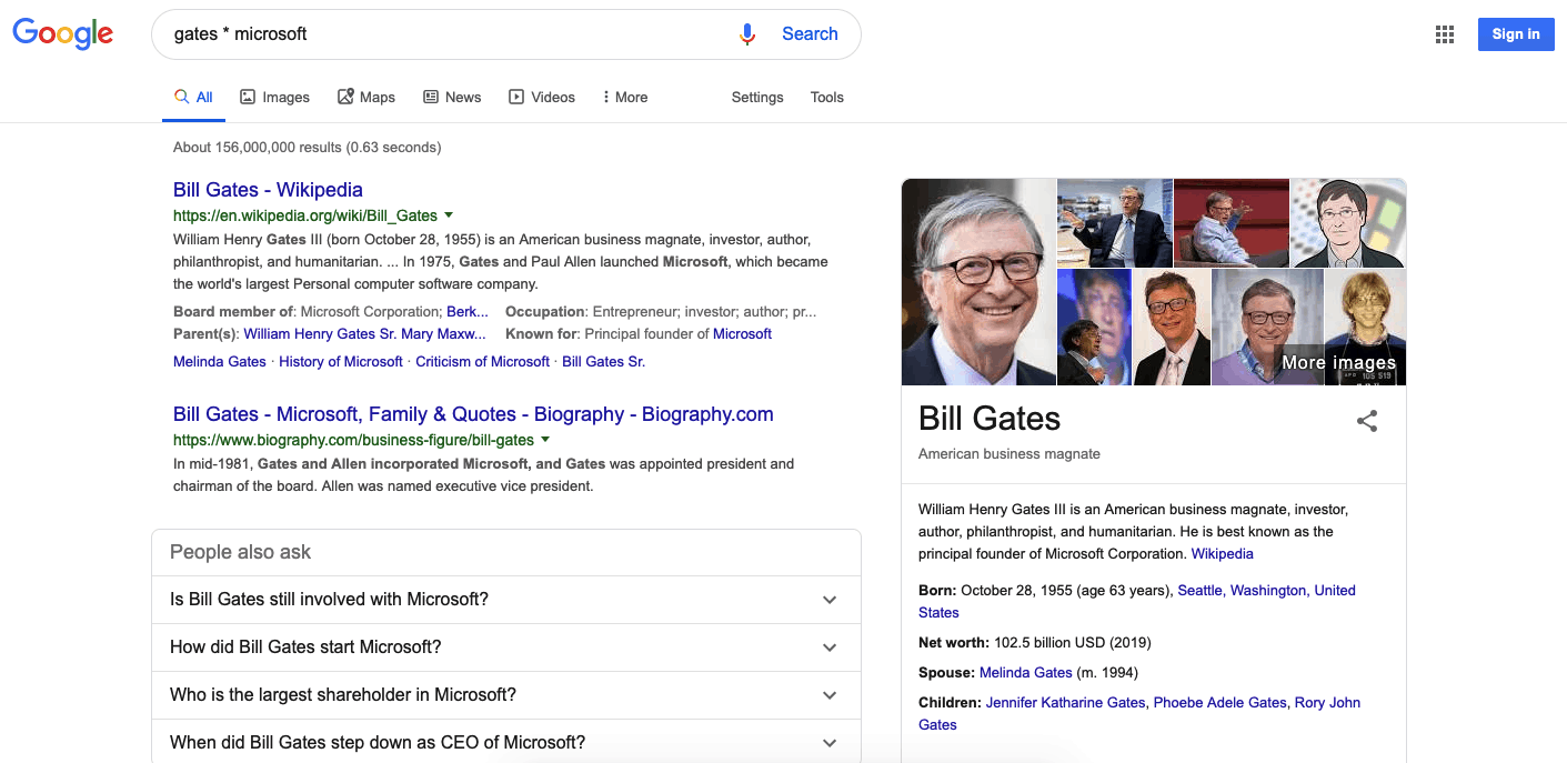 Search operators: Google search results for Bill Gates * Microsoft
