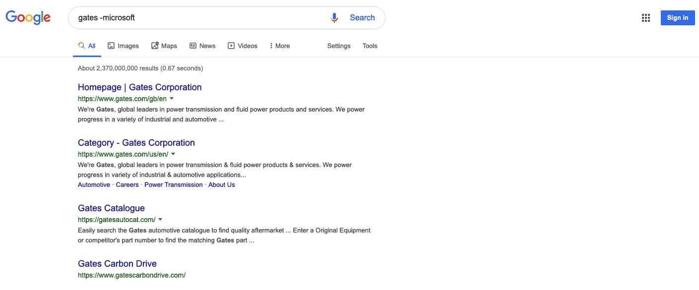 Google search operator results for gates -microsoft