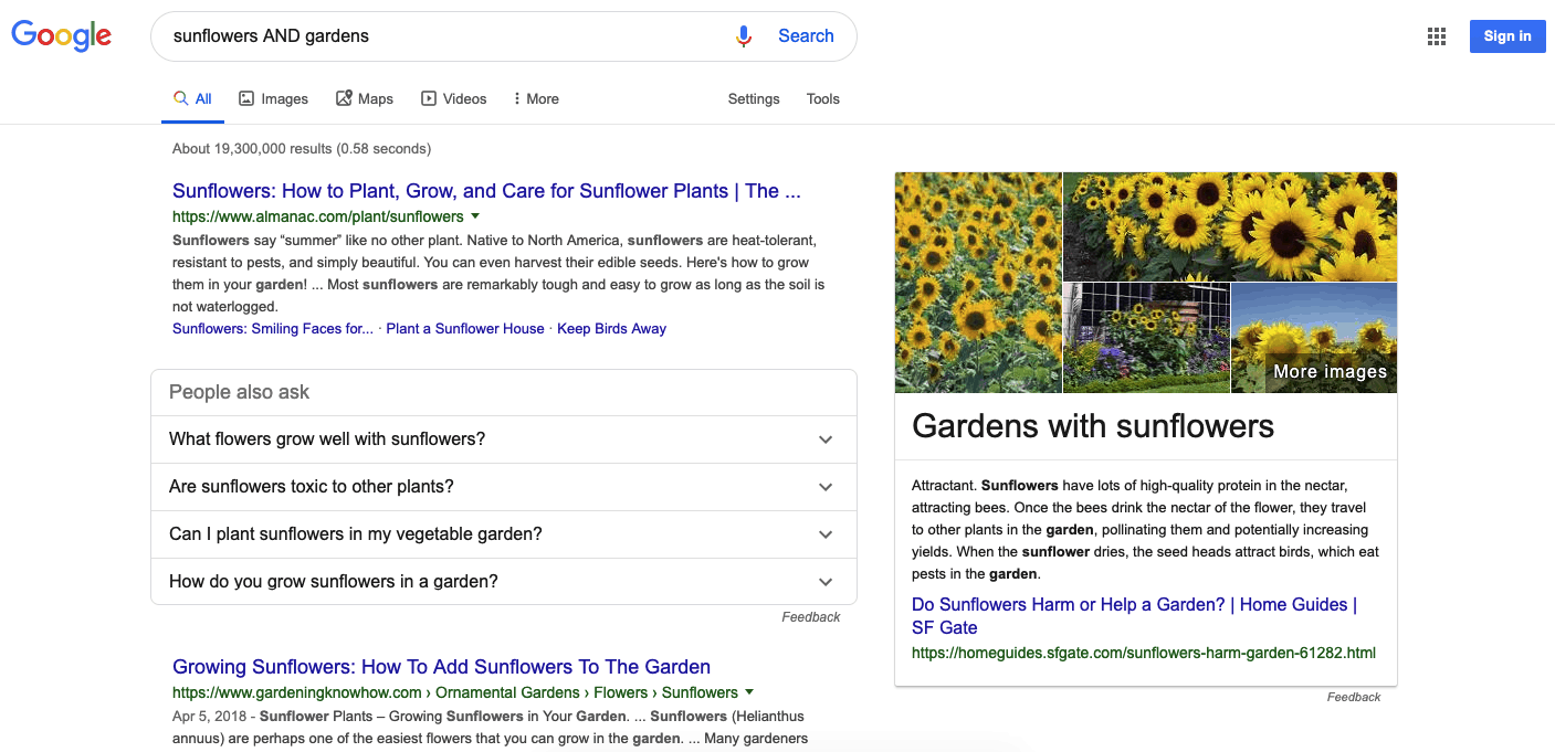 Google search results for sunflower and gardens using search operator