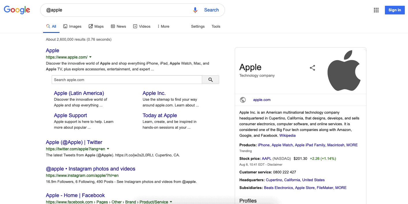 Google search results for @apple