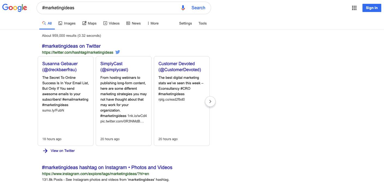 Google search results for #marketingideas