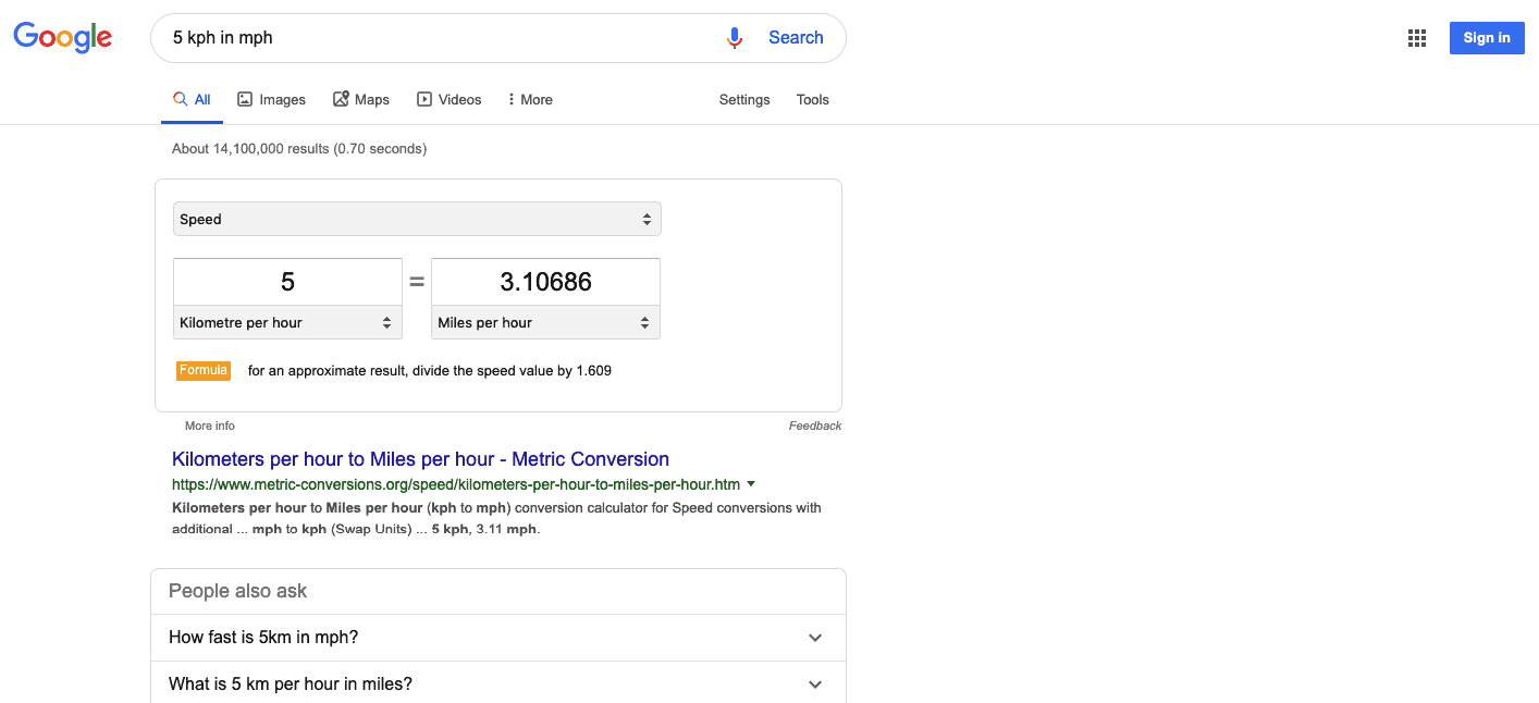 Google search results for 5 kph in mph