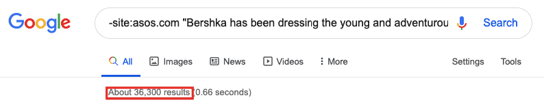 Google search results for -site:asos.com Bershka