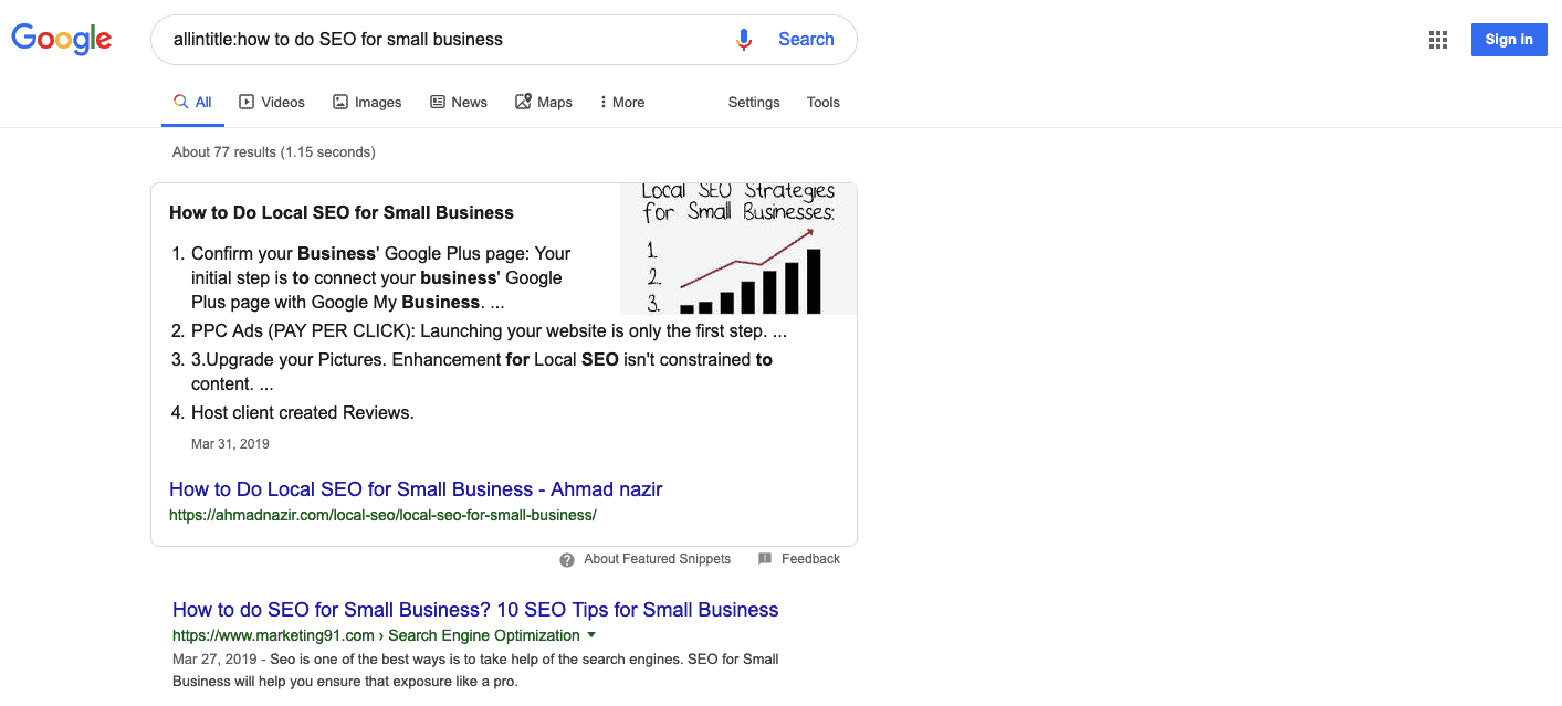 Google search results for allintitle:how to do SEO for small business