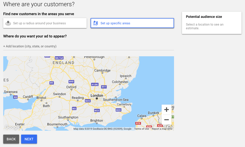 Where are your customer - setting up Google ad account