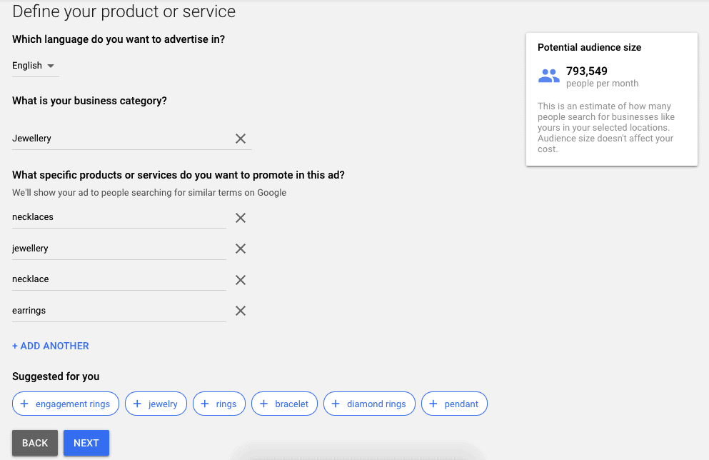 How to use Google Keyword Planner: define your product or service - setting up Google ad account