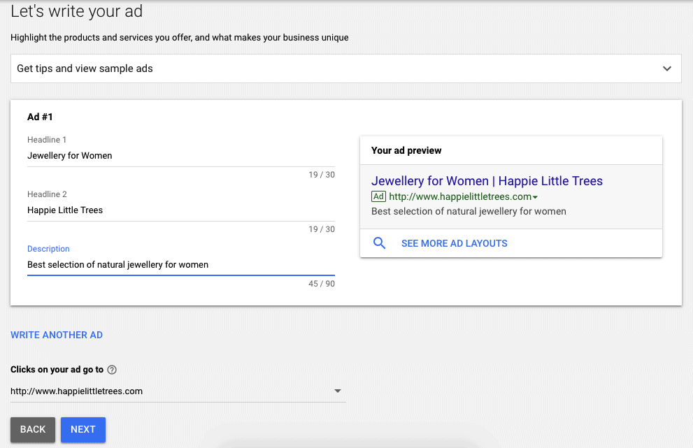 Write your ad - setting up Google ad account