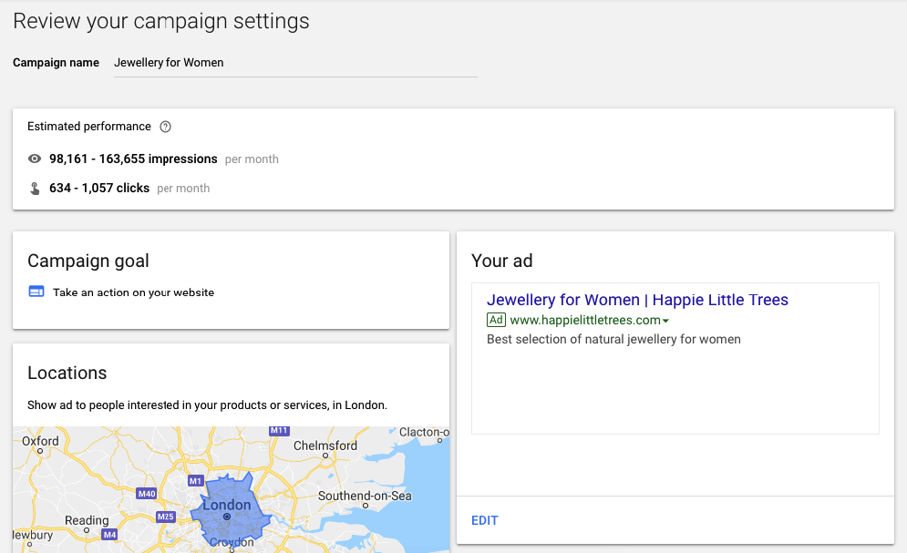 Review your campaign setting - setting up Google ad account