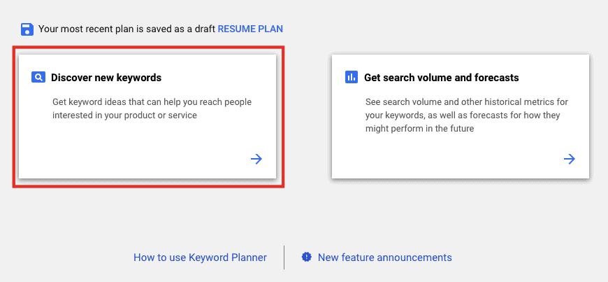 Discover ew keywords - Google ads account