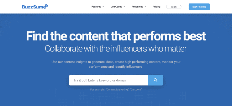 BuzzSumo Homepage Snippet - Free and Paid Ahrefs Alternatives