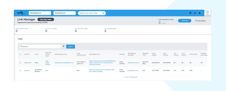 Raven Link Manager Sample Dashboard - Best Link Building Tools