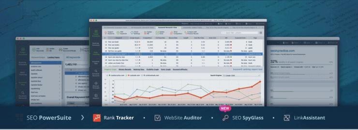 SEO PowerSuite Sample Dashboard - SpyFu Alternatives