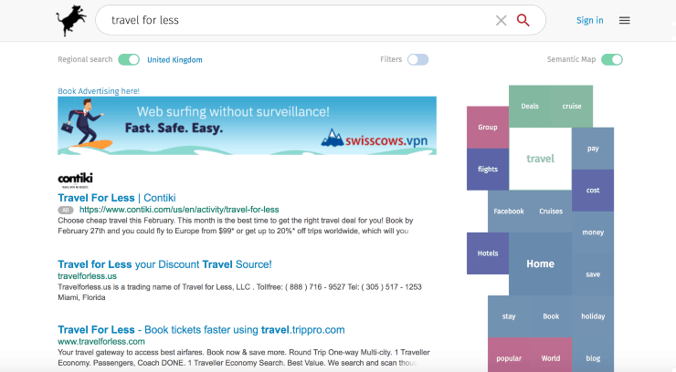 """alternative search engines to google - search results from """"travel for less"""" on Swisscows search engine"""