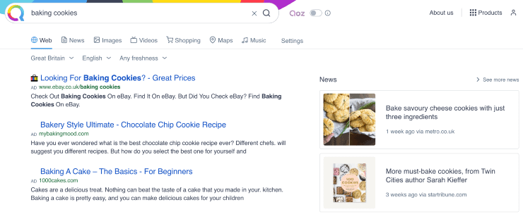 """alternative search engines to google - search results from """"baking cookies"""" on Qwant search engine"""