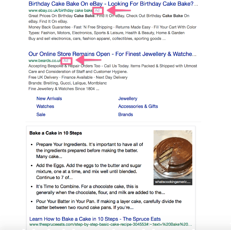 """alternative search engines to google - search results for """"birthday cake"""" on Yahoo search engine."""