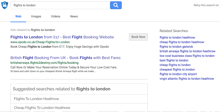 """alternative search engines to google - search results for """"flights to london"""" on Search Encrypt search engine"""