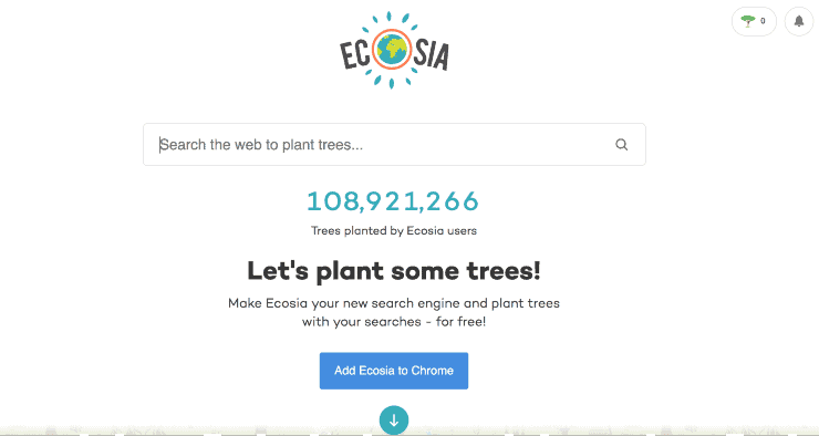alternative search engines to google - screenshot of Ecosia search engine homepage