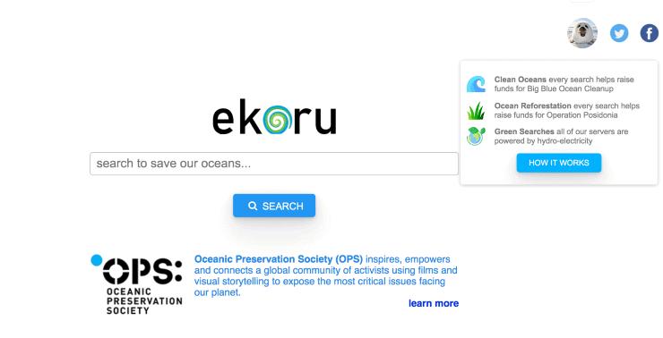 alternative search engines to google - screenshot of search engine ekoru homepage