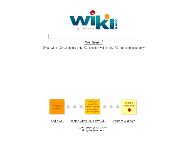 alternative search engines to google - a screenshot of wiki.com homepage