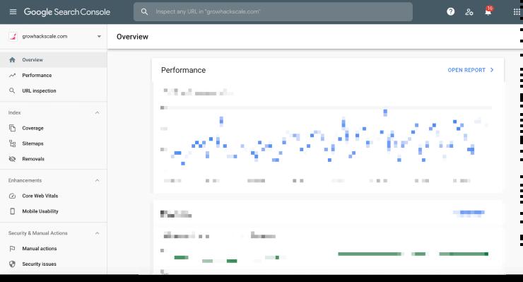 A screenshot of Google search console