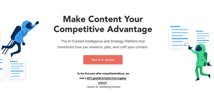 MarketMuse homepage - Clearscope Alternatives