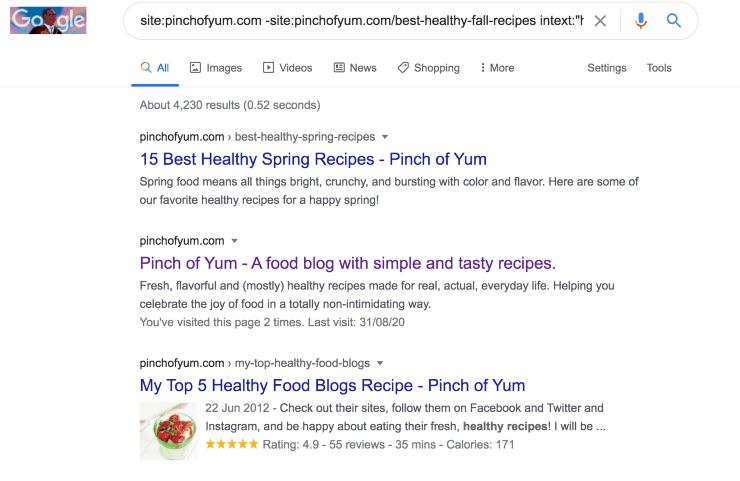 """Google search results for site:pinchofyum.com -site:pinchofyum.com/best-healthy-fall-recipes intext:""""healthy recipes"""""""