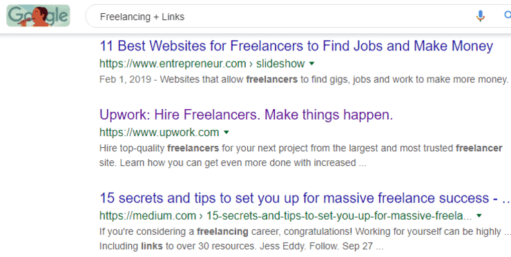 how to get quality backlinks: Google search results for freelancing + links