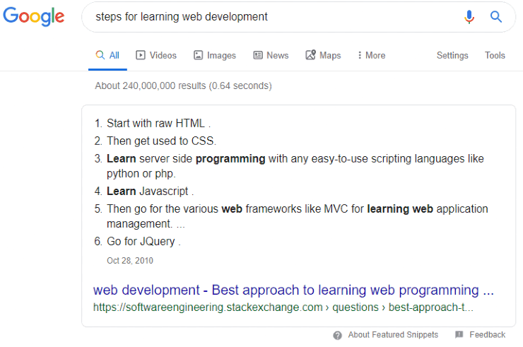 Featured snippets - Google number snippet for 'steps for learning web development'