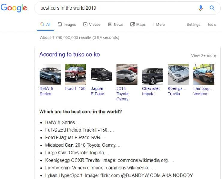 Google bulleted list snippet for 'best cars in the world 2019'