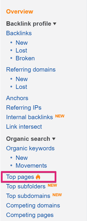 Ahrefs Top Pages Report - How to Do Keyword Research