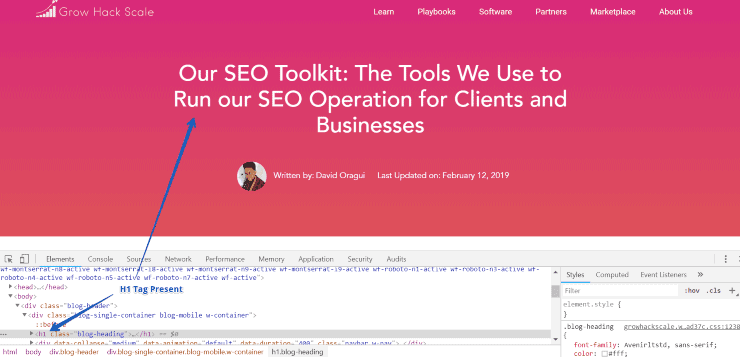 Inspect Element Page Title - On Page SEO Checklist